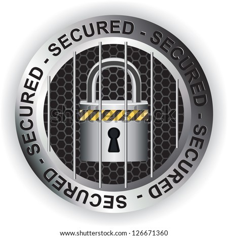 Secured Sign Sticker Silver - stock vector