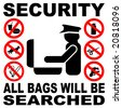 Security all bags will be searched sign illustration - stock photo