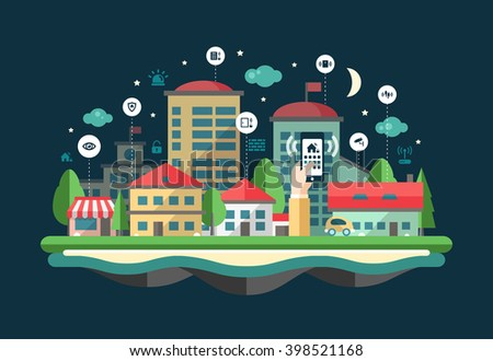 Security and alarm system services web site flat design header, banner with a cityscape - stock vector