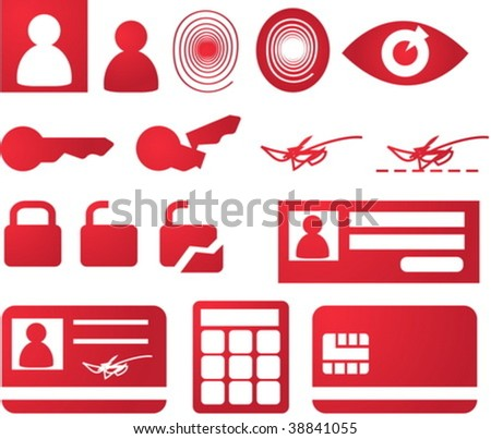 Security and biomtetric icon set, clipart illustration - stock vector