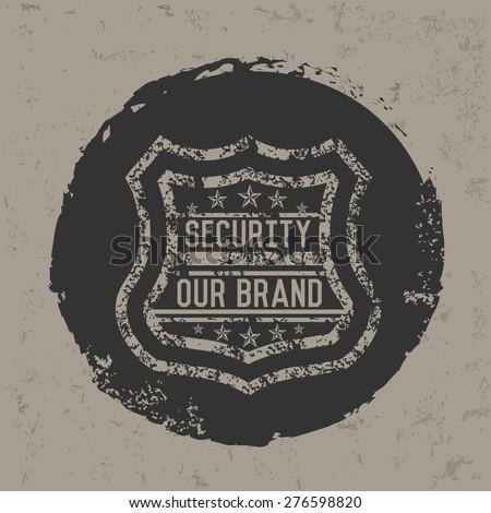 Security badge design on grunge background, grunge vector - stock vector