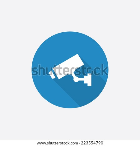 security camera Flat Blue Simple Icon with long shadow, isolated on white background   - stock vector
