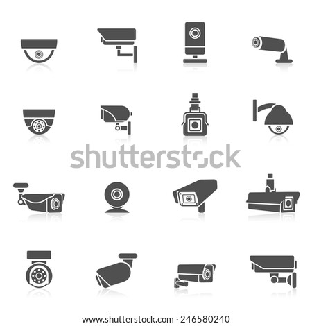 Security camera private safety security control electronic black icons set isolated vector illustration - stock vector