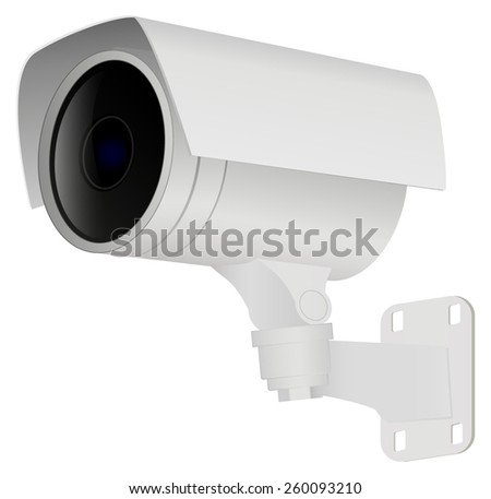 Security camera. Vector Illustration isolated on white background.