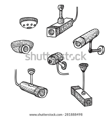 Security cameras - stock vector
