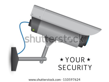 security cctv cammera security cctv camera with open lens and wires - stock vector