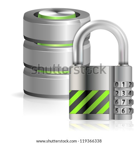 Security Concept - Padlock Protects Database and Hard Disk Icon, isolated on white, vector illustration - stock vector