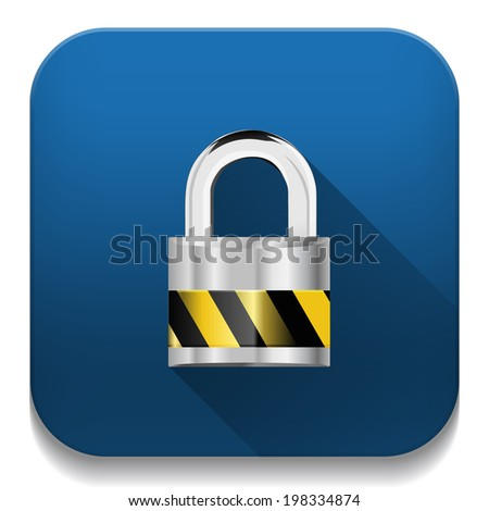 security concept with locked combination pad lock icon With long shadow over app button