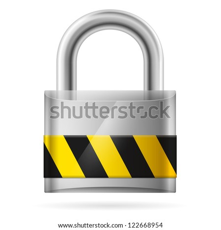 Security concept with locked  pad lock on white - stock vector