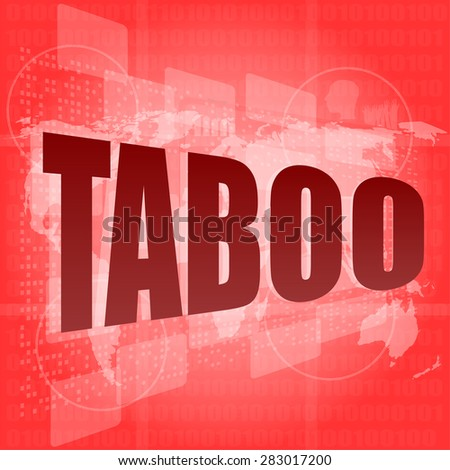 security concept: words taboo is a marketing on digital screen, vector - stock vector