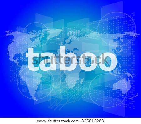 security concept: words taboo is a marketing on digital screen vector illustration - stock vector