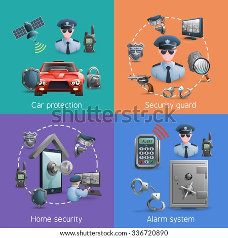 Security design concept set with elements of  home  safety and alarm system vector illustration - stock vector