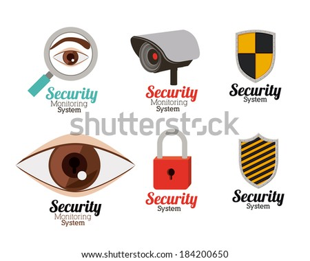 Security design over white background, vector illustration - stock vector