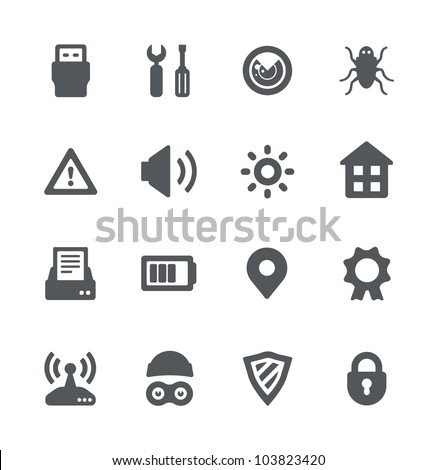 Security device simple minimalistic grey icons - stock vector