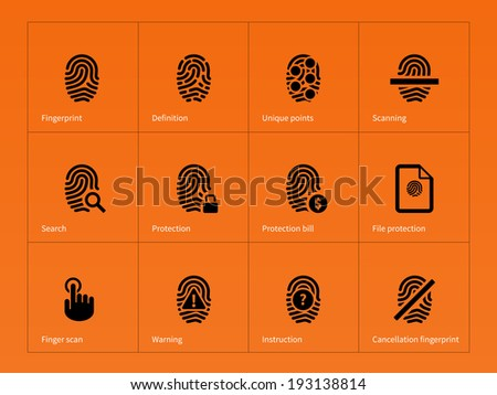 Security finger print icons on orange background. Vector illustration. - stock vector