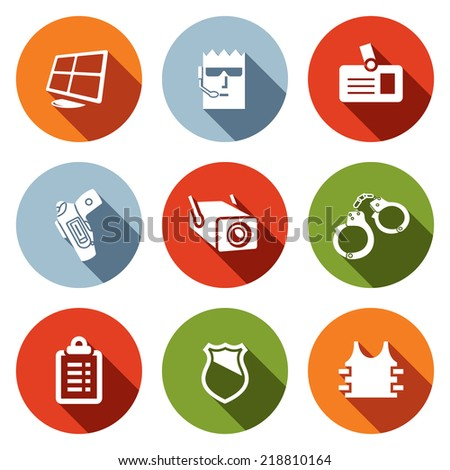Security flat icon collection - stock vector
