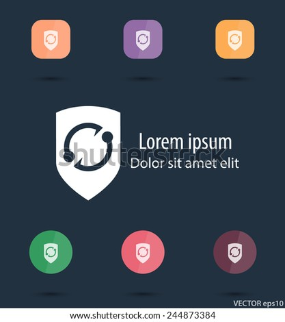 security flat trendy icon, 7 variations, vector illustration, eps10, easy to edit - stock vector