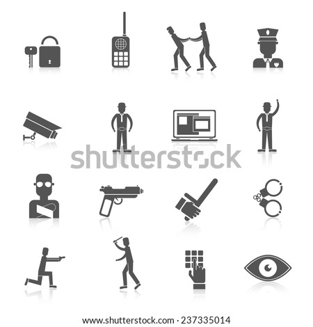 Security guard black icons set with safety officer weapon prisoner isolated vector illustration - stock vector