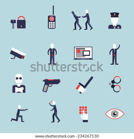Security guard flat icons set with surveillance camera handcuffs guard isolated vector illustration - stock vector