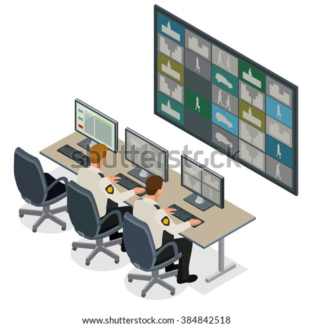 Security guard watching video monitoring surveillance security system. Mans In Control Room Monitoring Multiple Cctv Footage. Video surveillance concept. Flat 3d isometric vector illustration  - stock vector