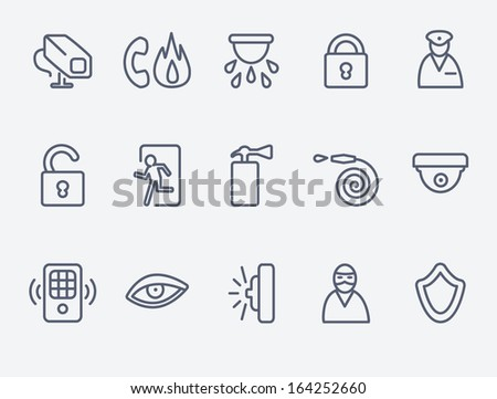 Security icons - stock vector