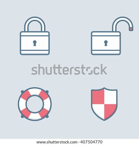 Security icons and symbols. - stock vector