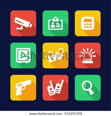 Security Icons Flat Design - stock vector