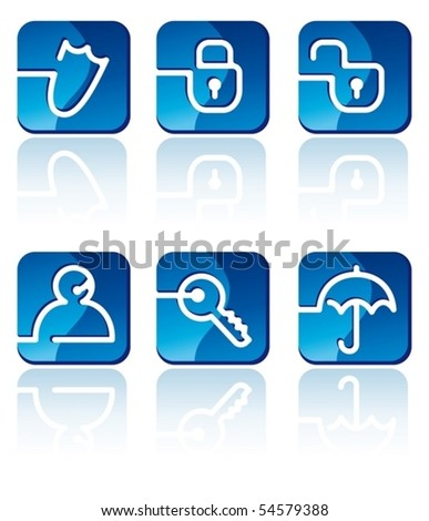 Security icons set - stock vector