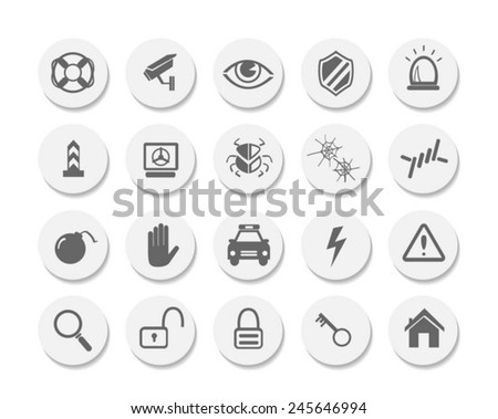 Security icons set , flat style - stock vector