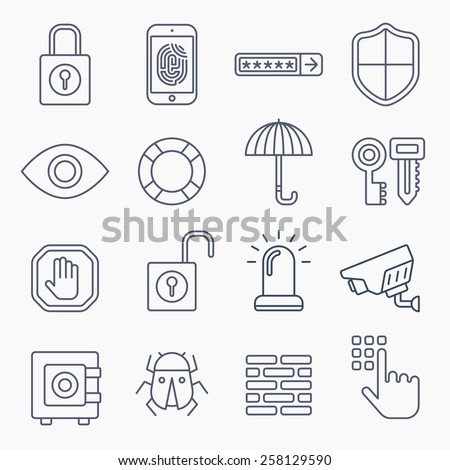 security line icons isolated on white background - stock vector