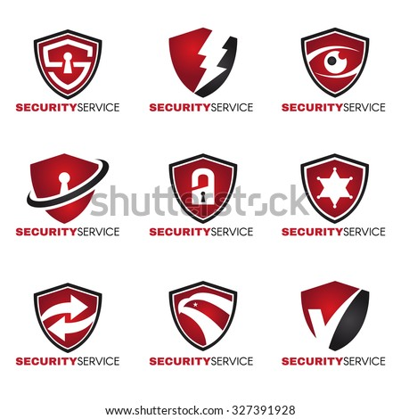 Security logo - 9 style red and black tone - stock vector