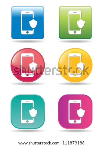 Security mobile phone icons - stock vector