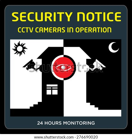 Security Notice CCTV Cameras in Operation Day and Night with a Silhouette Building that can symbolize as a store, hotel, government building premises etc. Editable EPS10 Clip art.