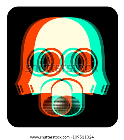 Security nuclear mask effect - stock vector