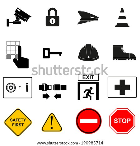 Security or safety Icon set - stock vector