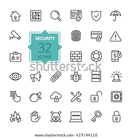 Security - outline web icon set, vector, thin line icons collection