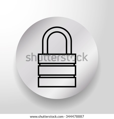 Security padlock on round button graphic design, vector illustration