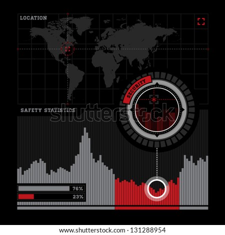 Security radar and infographics - stock vector