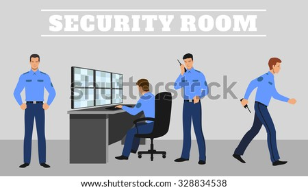Security room and working guards.  Work and service system, technology control safety. Vector concept illustration - stock vector