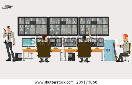 security room in which working professionals. surveillance cameras. Vector illustration in a flat style. - stock vector