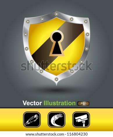 security shield - stock vector