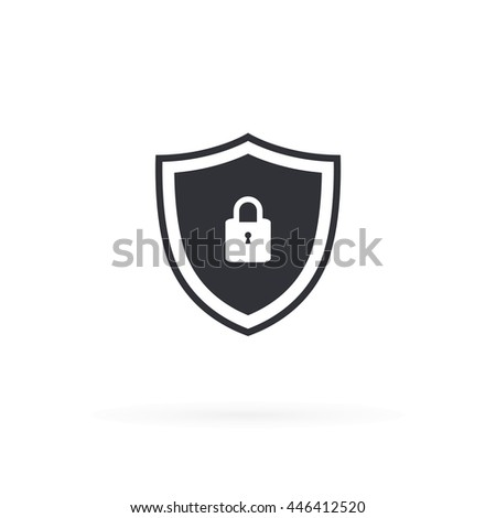 Security Shield Protected Icon - stock vector