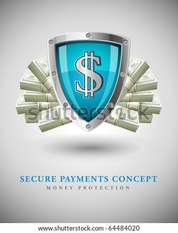 security shield protecting money business concept vector illustration - stock vector