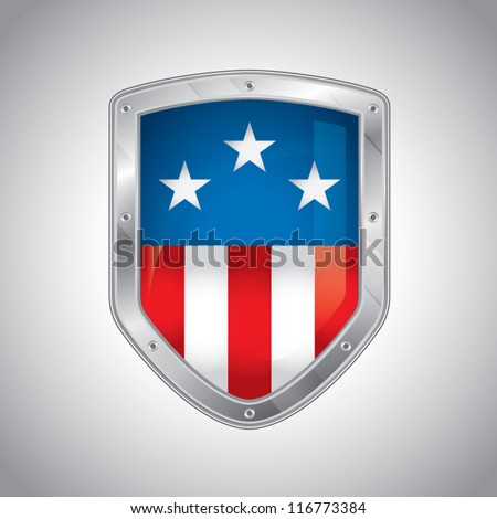 Security shield with american flag, symbol icon, vector illustration - stock vector