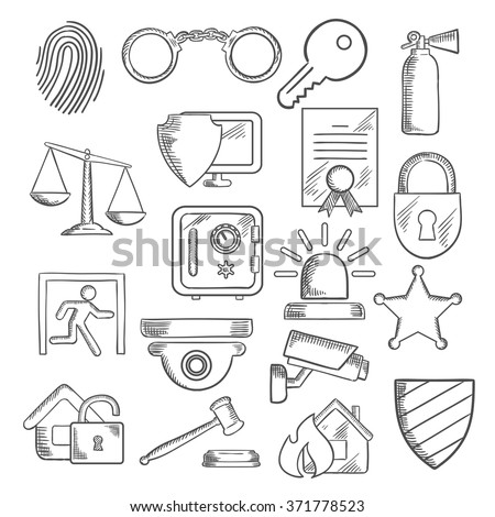 Security sketch icons set with web security shield and padlock, key and safe, video surveillance, fire security, justice scales and handcuffs, fingerprint, extinguisher and sheriff star
