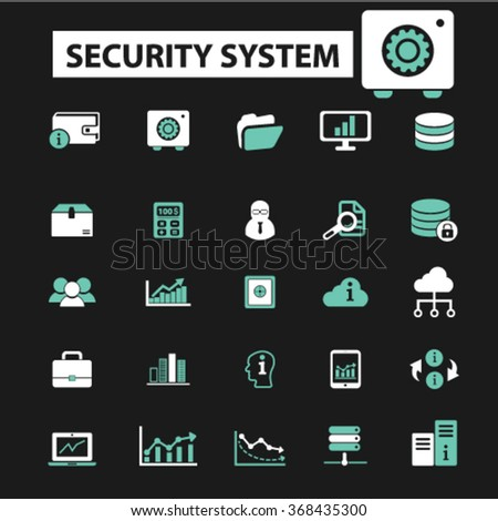 security, system administrator, computer network, connection, database, technology icons, signs vector concept set for infographics, mobile, website, application  - stock vector
