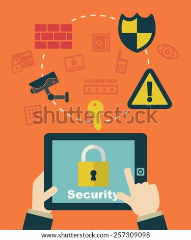 security system, businessman clicking on tablet. - stock vector