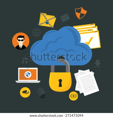 Security system design over gray background ,vector illustration. - stock vector