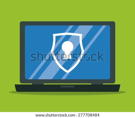 Security system design over red background, vector illustration. - stock vector