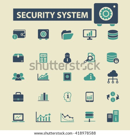 security system icons  - stock vector